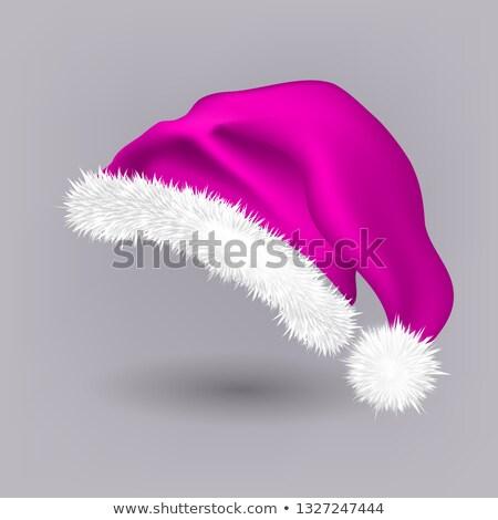 Pink Santa Hat Vector. Snow Clothing. Celebration Object. Seasonal Accessory. Santa Claus Holiday Pi Stock photo © pikepicture