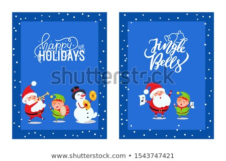 Holly Jolly Greeting Cards with Lovely Santa, Elf Stock photo © robuart