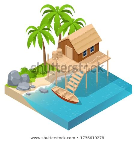 Cabaña terraza ilustración casa casa Foto stock © colematt