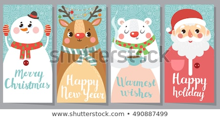 Christmas Greeting Card with Cartoon Animals Stock photo © robuart