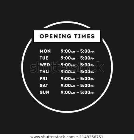 bolt · nyitás · idő · vektor · sablon · narancs - stock fotó © orson
