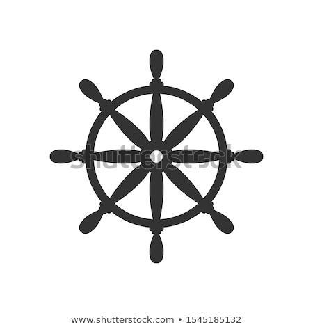 Foto d'archivio: vector flat boat handwheel, ship wheel helm