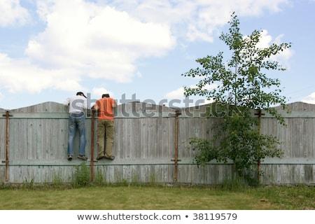 2 · 男の子 · フェンス · 見える · 家族 - ストックフォト © ElenaBatkova