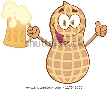 Heureux arachide bière pouce Photo stock © hittoon