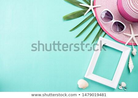 Beach accessories retro film camera sunglasses flip flop and sea Stock photo © manaemedia