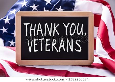 Köszönjük szöveg írott felső kilátás amerikai zászló Stock fotó © AndreyPopov
