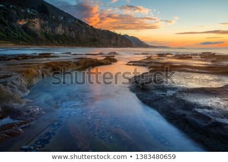 Sabah sahil sahil kasaba ışık doğa Stok fotoğraf © lovleah