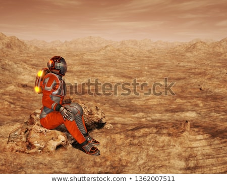 Background scene with spaceship landing on planet Stock photo © colematt