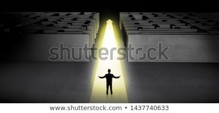 businessman going straight on two dark mazes stock photo © ra2studio