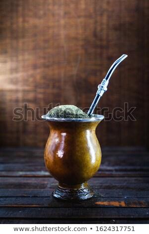 Güney amerika eş çay kurutulmuş yaprakları ahşap Stok fotoğraf © grafvision