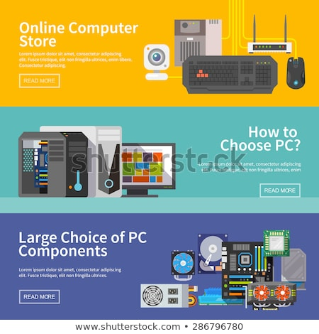 electronic parts flat icons stock photo © netkov1