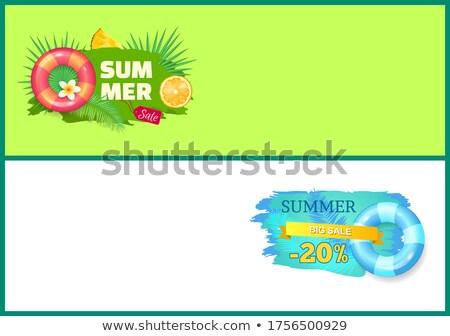 yaz · satış · afiş · tanıtım · indirim · hurma · ağacı - stok fotoğraf © robuart