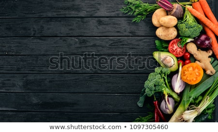 different vegetables for eating healthy on black background stock photo © illia