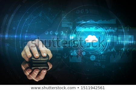 Hand using mouse with cloud technology concept Stock photo © ra2studio