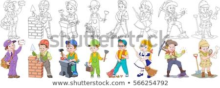 Stockfoto: Loodgieter · cartoon · ingesteld · collectie · mascotte