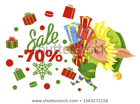 Sale 70 Percent Elf Carrying Gifts Promo Banner Stock photo © robuart