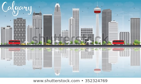 Calgary Skyline with Gray Buildings, Blue Sky and Reflections. Stock photo © ShustrikS