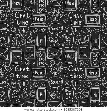 Chat tijd krijttekening ontwerp doodle vector Stockfoto © foxbiz