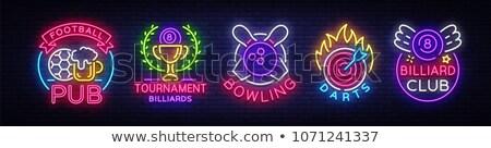 Darts neonreklám számítógépes játék promóció sport technológia Stock fotó © Anna_leni