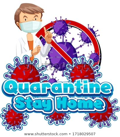 Font design for word quarantine with doctor wearing mask Stock photo © bluering