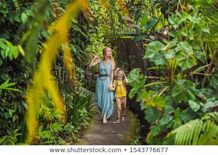 Mother and son tourists in Bali walks along the narrow cozy streets of Ubud. Bali is a popular touri Stock photo © galitskaya