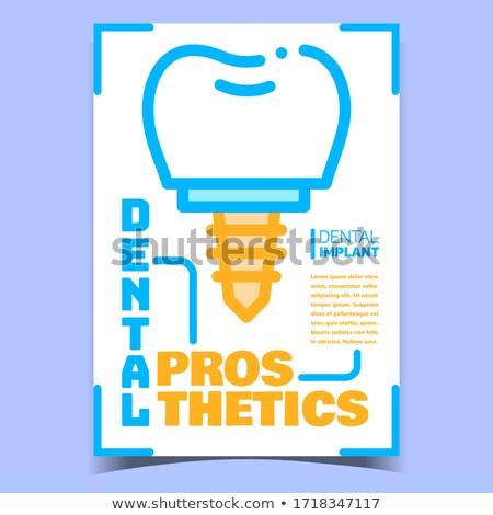 Diş yaratıcı promo afiş vektör implant Stok fotoğraf © pikepicture