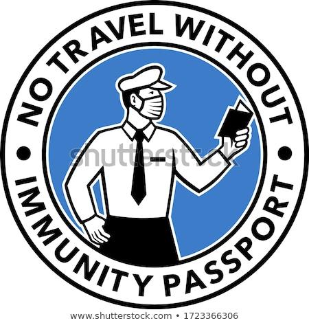 Imigracja oficer paszport ikona w stylu retro ilustracja Zdjęcia stock © patrimonio