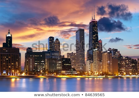 Foto stock: Chicago · linha · do · horizonte · pôr · do · sol · centro · da · cidade · panorama