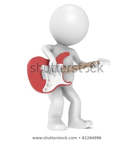 3D · weinig · menselijke · karakter · spelen · elektrische · gitaar - stockfoto © JohanH