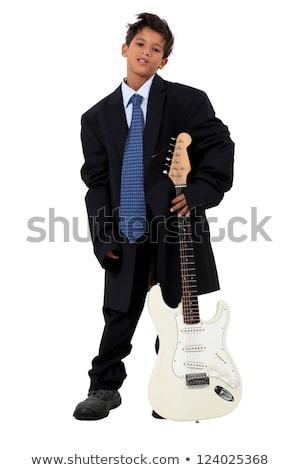 Fiú bő öltöny elektromos gitár zene mosoly Stock fotó © photography33