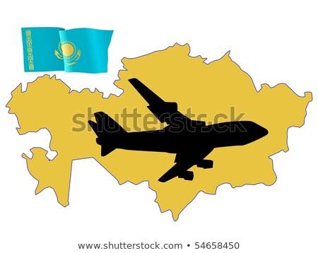 地図 · カザフスタン · 政治的 · いくつかの · 地域 · 抽象的な - ストックフォト © perysty