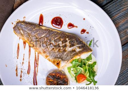 Сток-фото: морем · бас · обеда · изображение · гриль · овощей