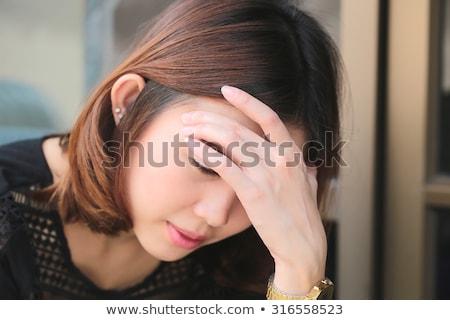 bastante · mulher · negra · enxaqueca · menina · trabalhar · óculos - foto stock © photography33