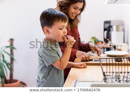 Gyermek készít sütik fiatal kicsi fából készült Stock fotó © gewoldi