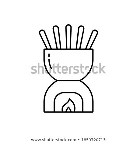 Ceramic fondue isolated on white background stock photo © deymos
