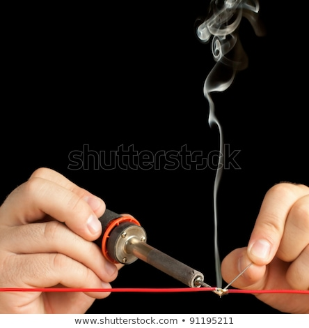 Technikus forrasztás kettő drótok együtt fekete Stock fotó © gabes1976