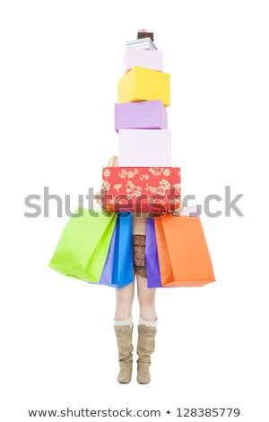 pretty woman carrying a stack of gifts stock photo © pasiphae