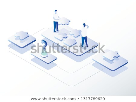 Puzzle Solved And 3d Characters Displays Team And Teamwork Stock photo © stuartmiles
