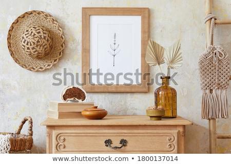 Barna konyhaszekrény ajtó közelkép háttér bútor Stock fotó © taden