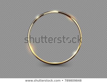 Foto d'archivio: Vettore · oro · anelli · isolato · bianco · verde