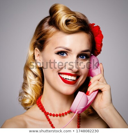 Young lady funny retro portrait Stock photo © Nejron