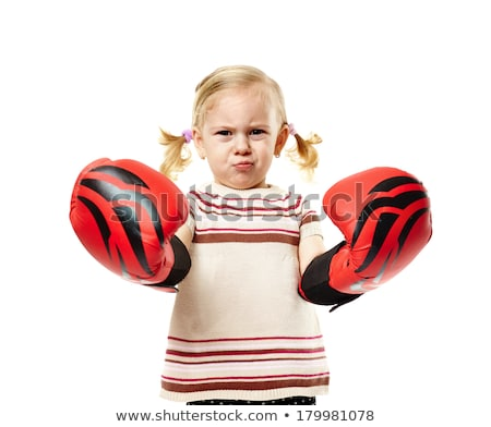 boxer kid blond girl with funny boxing gloves Stock photo © lunamarina