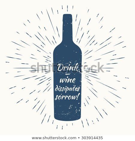 bottle of wine and vintage sun burst frame wine poster stock photo © netkov1