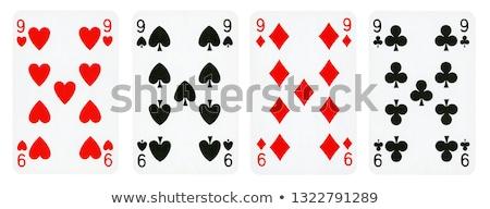 Stock fotó: Kilenc · játszik · kártya · piros · kártyák · játék