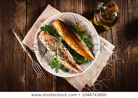 Füstölt makréla porcelán étel hal vacsora Stock fotó © Digifoodstock