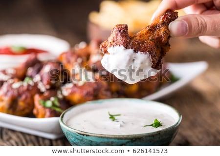 Pieczony kurczak skrzydełka ziemniaki tablicy posiłek nikt Zdjęcia stock © Digifoodstock