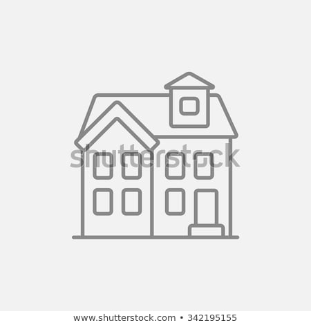 two storey detached house line icon stock photo © rastudio