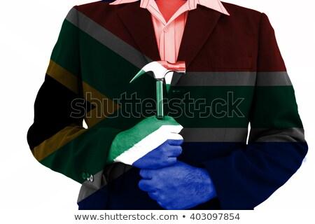 iş · adamı · çekiç · Güney · Afrika · bayrak · el - stok fotoğraf © bank215