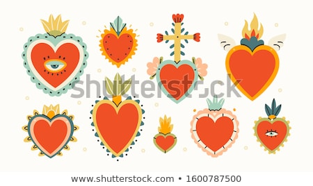 Cartoon hearts with fire for design  Stock photo © Natali_Brill