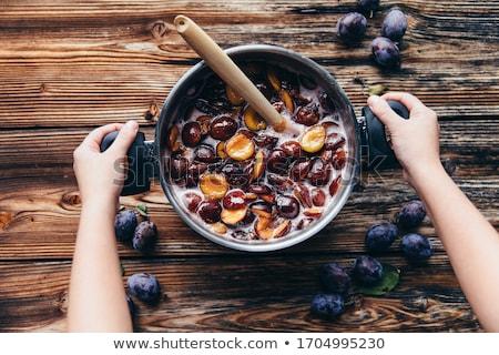 erik · reçel · çanak · kaşık · meyve · tatlı - stok fotoğraf © Digifoodstock